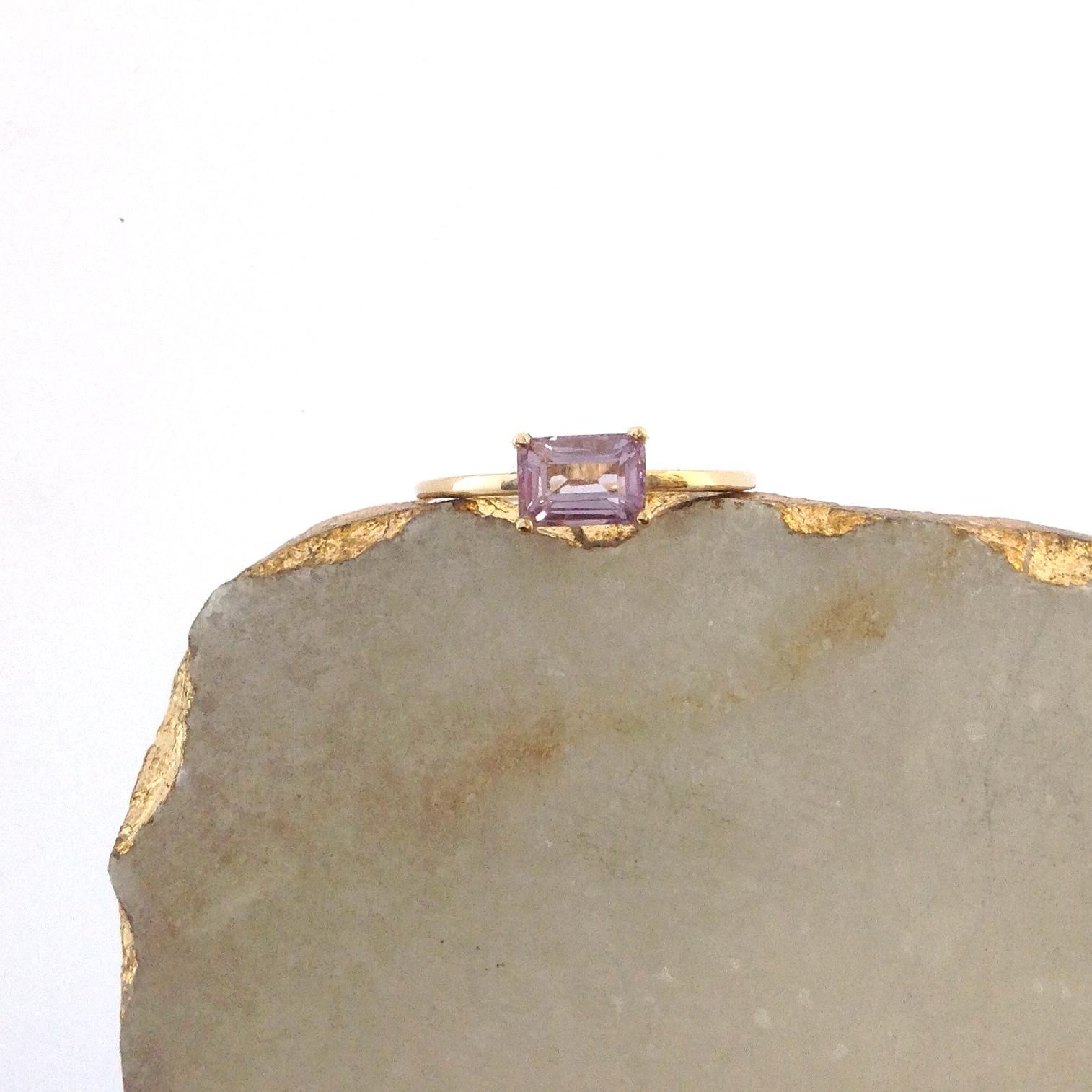14K Gold & Emerald Cut Amethyst Ring