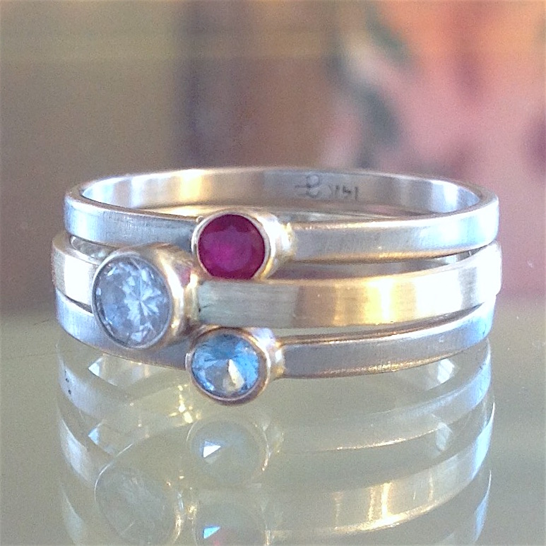 14K White Gold Mother's Stacking Bands by LeeAnn Herreid