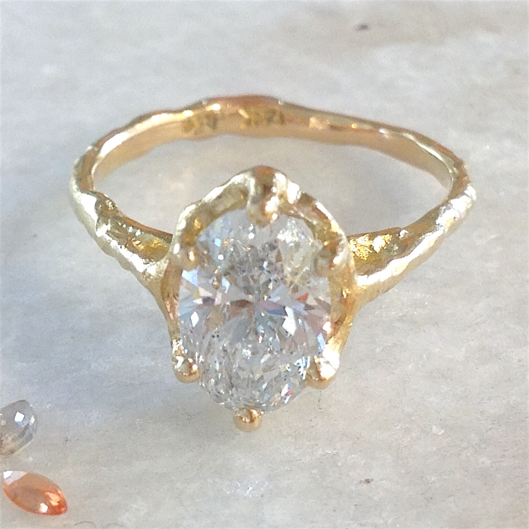 14K Yellow Gold Twig Setting for Oval Diamond by Darrien Segal