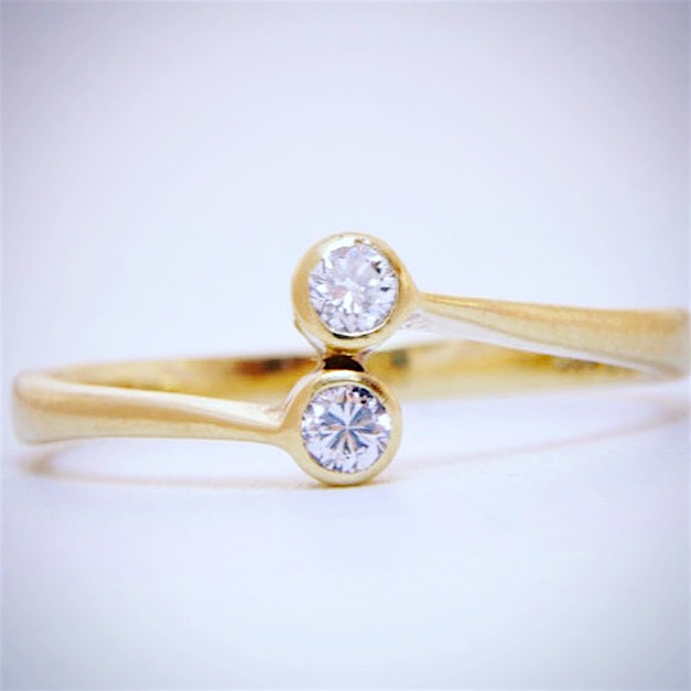 14K Yellow Gold Diamond Toi & Moi Ring