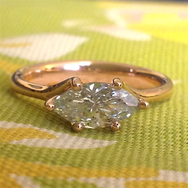 14K Rose Gold East West Marquis Diamond Ring