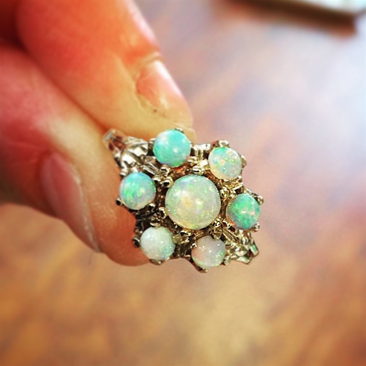 14K Yellow Gold & Opal Cluster Ring