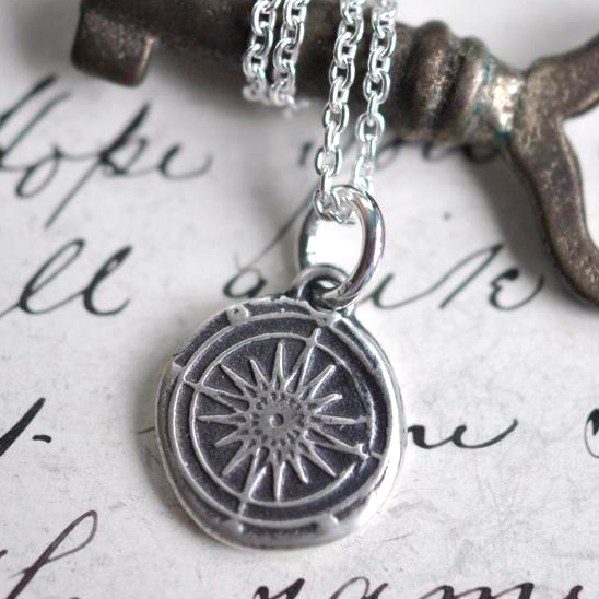 Sterling Silver Wax Seal Compass Necklace by Sue Gray