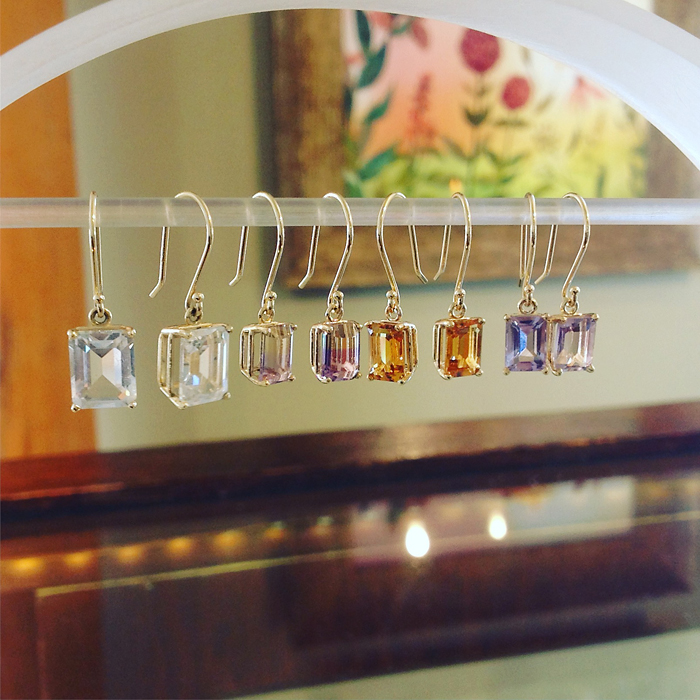 14K Yellow Gold Emerald Cut Gemstone Drop Earrings