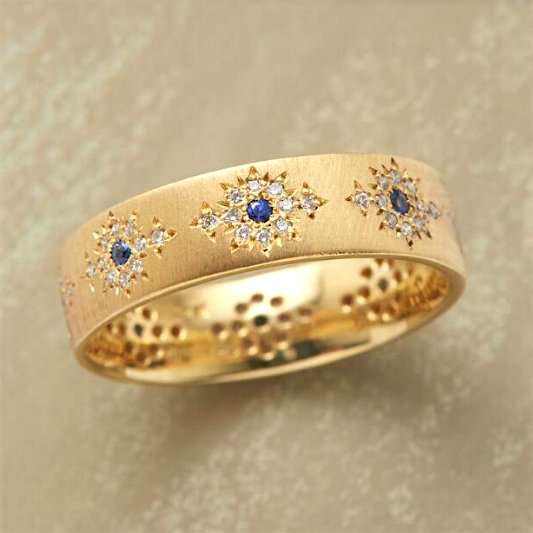 18K Yellow Gold Diamond & Sapphire Band by Adel Chefridi