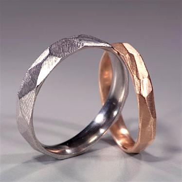 18K White & Rose Gold Faceted Bands by Dahlia Kanner
