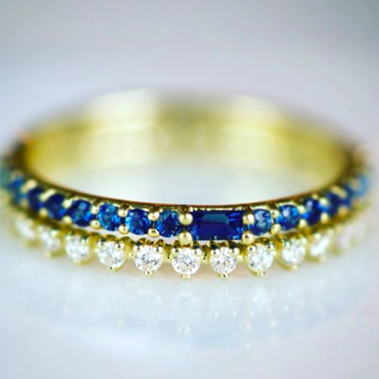Sapphire & Diamond Bands by ILA