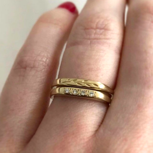 14K Gold Engraved Bands by Erin Claus