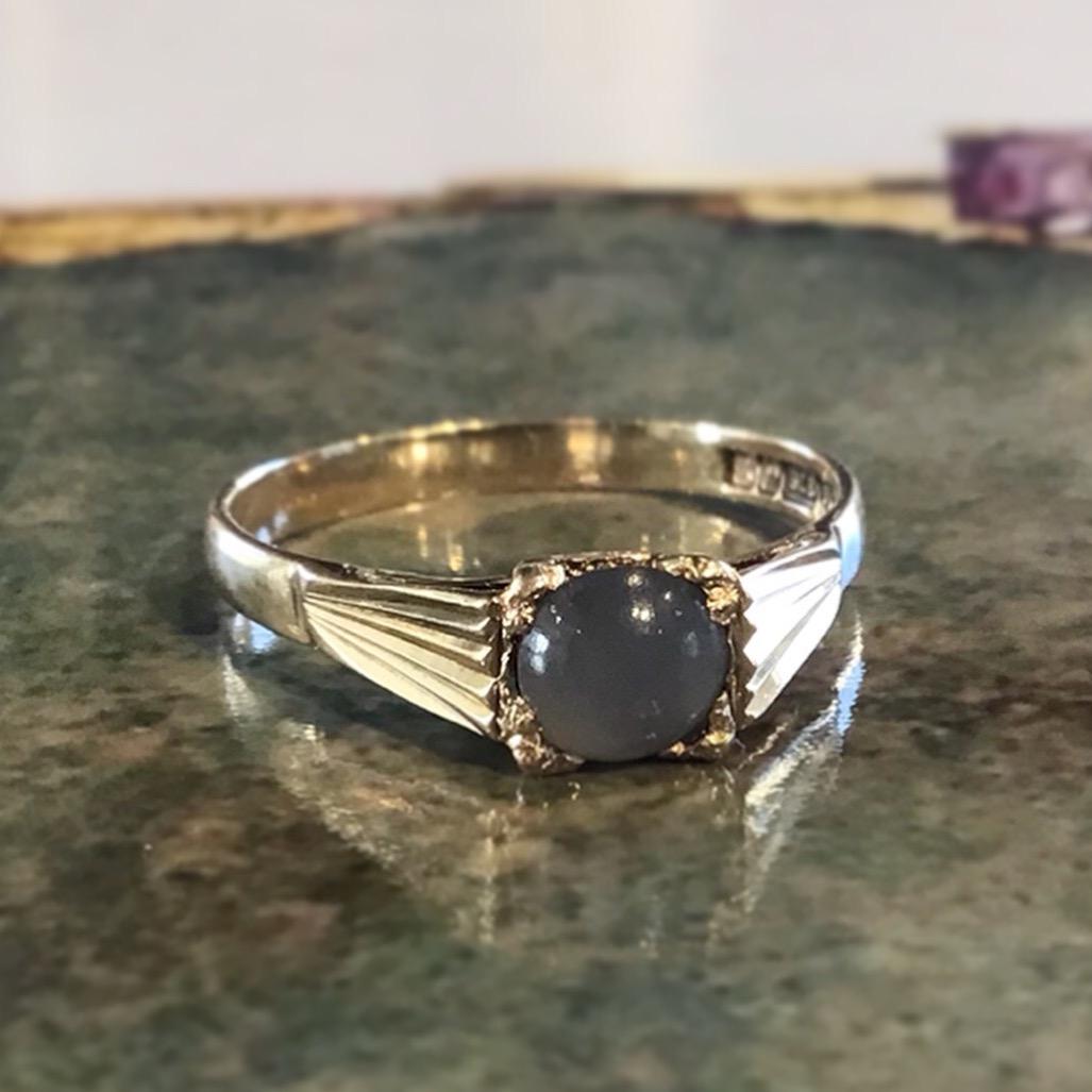 UpCycled 9K Yellow Gold & Black Moonstone Ring