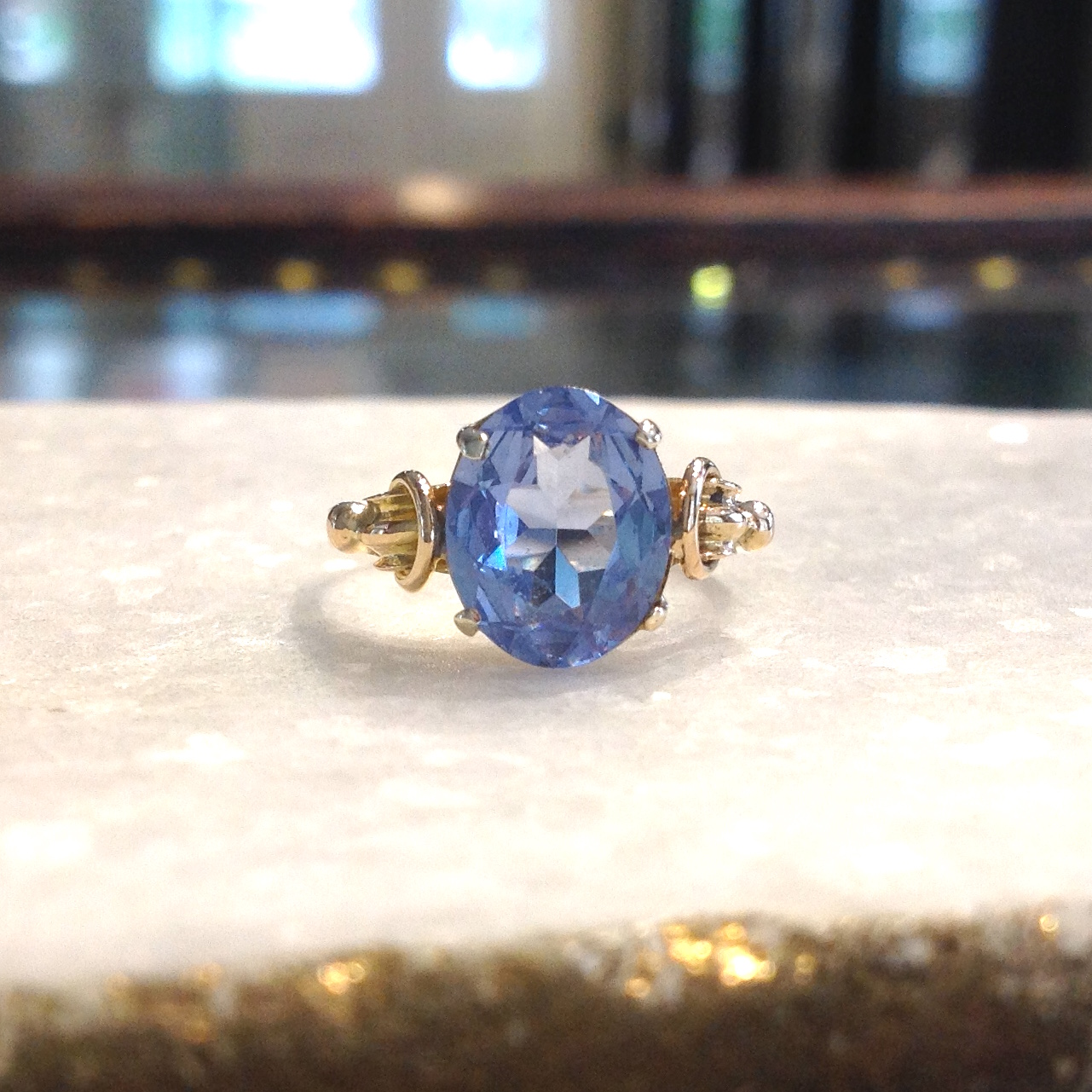 9K Yellow Gold Blue Topaz Ring