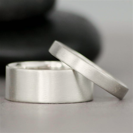 14K White Gold Flat Bands