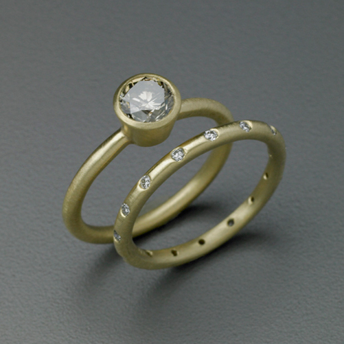 18K Yellow Gold & Diamond Engagement Ring and Band by Heather Guidero