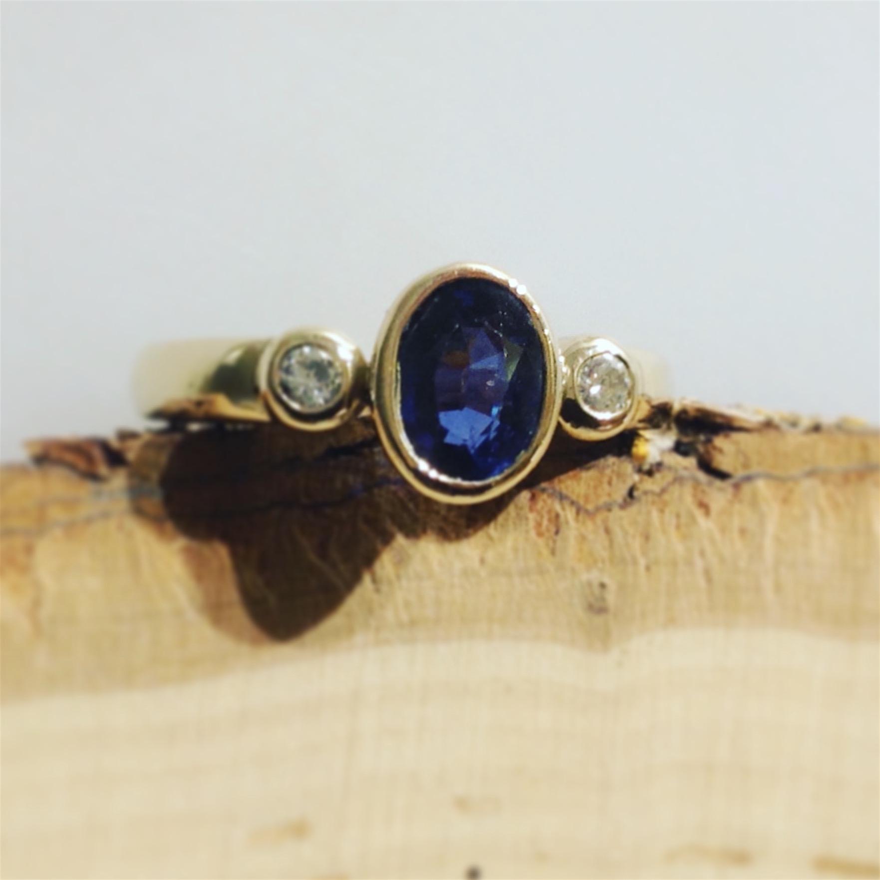 14K Yellow Gold Blue Sapphire & Diamond Ring by LeeAnn Herreid