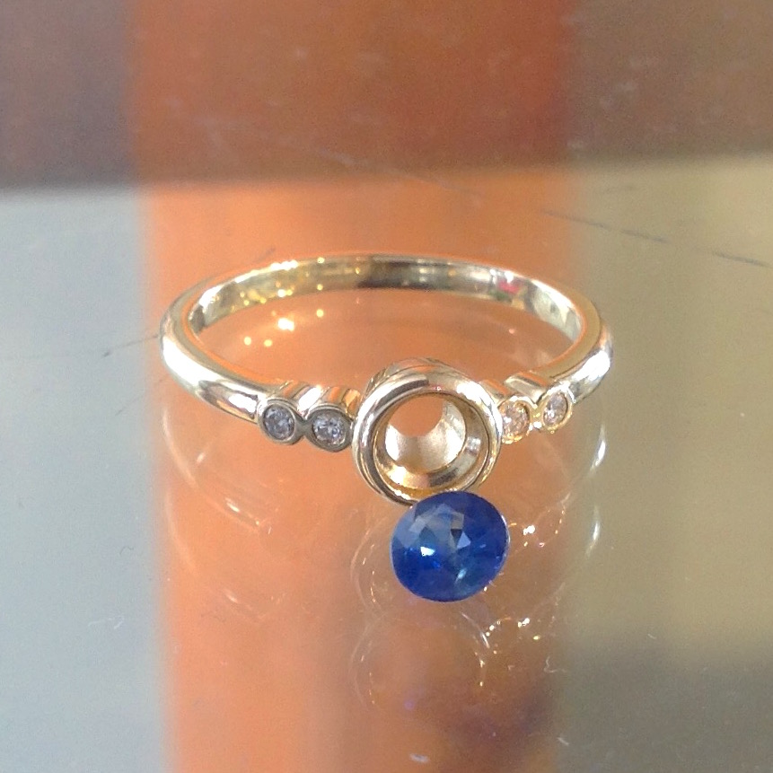 14K Yellow Gold Bezel Setting with Sapphire