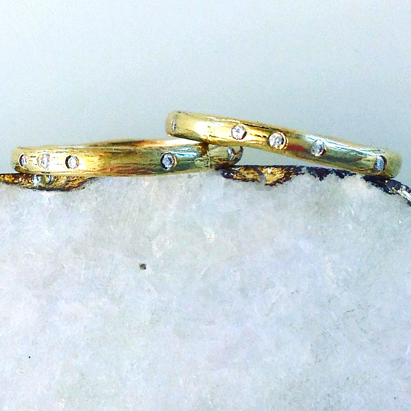 14K Gold Cast Twig & Diamond Bands by Darrien Segal