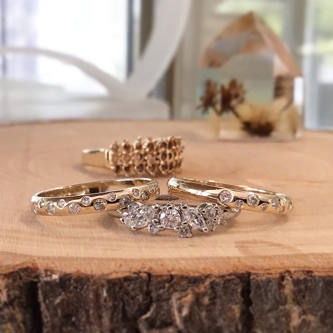 Upcycled 14K Yellow Gold & Diamond Stacking Bands