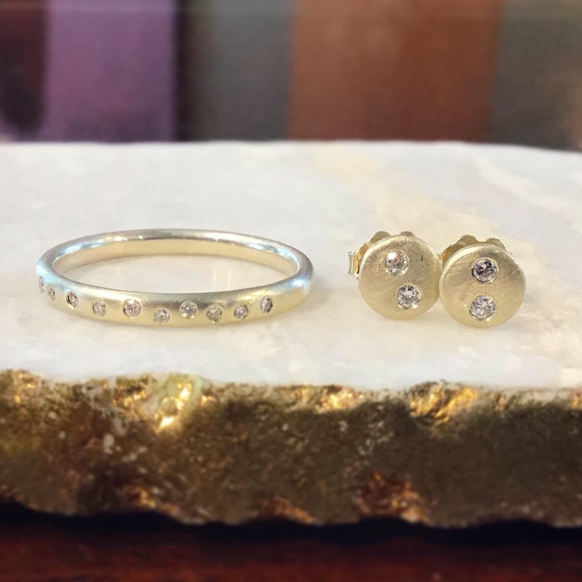 Upcycled Yellow Gold & Diamond Band & Studs by Darrien Segal
