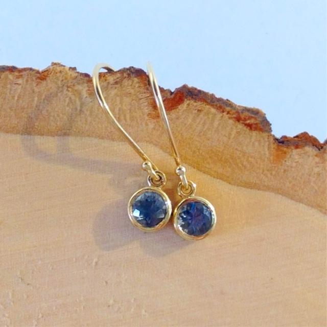 Upcycled 14K Bezel Set Montana Sapphire Earrings