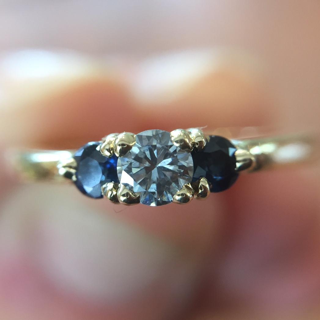 14K Yellow Gold Diamond & Blue Sapphire Ring