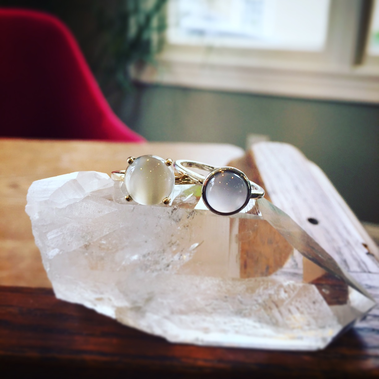 14K Yellow White Moonstone & Sterling Silver Blue Chalcedony Rings