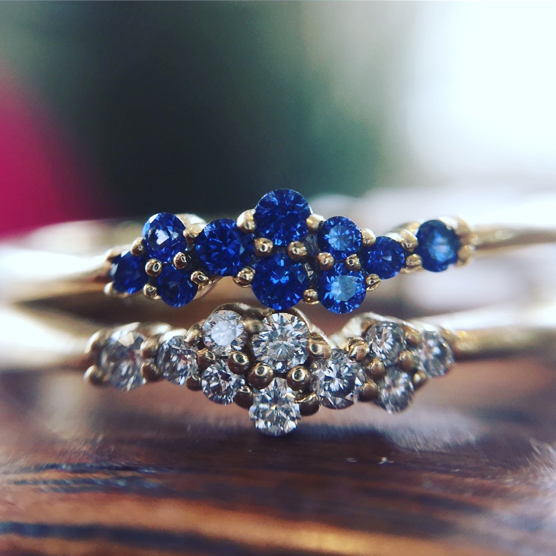14K Yellow Gold Diamond and Sapphire Cluster Rings