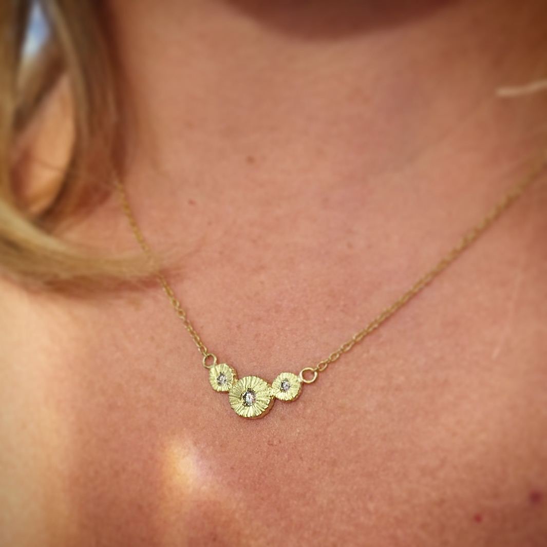 18K yellow Gold and Diamond Pendant by Dahlia Kanner