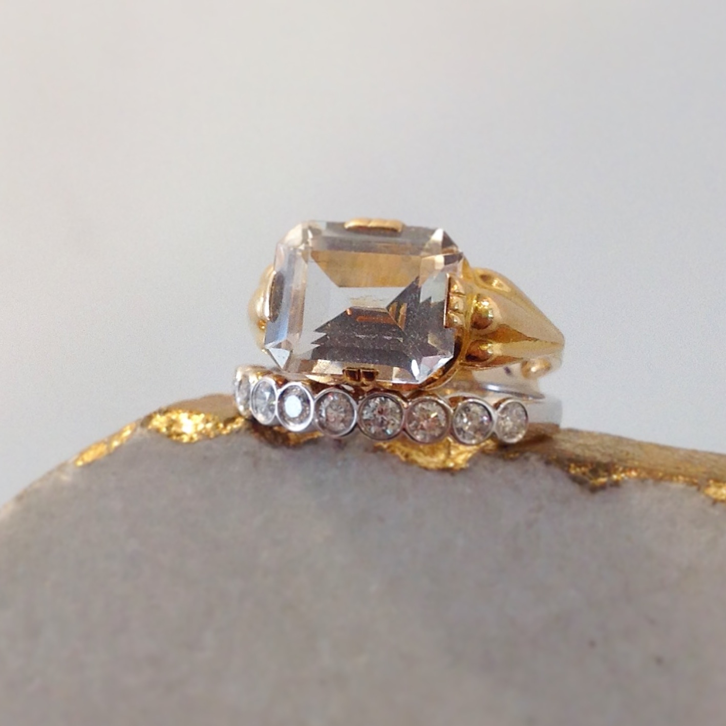 Vintage 18K Yellow Gold Rock Crystal Ring with 14K White Gold Bezel Set White Sapphire Band