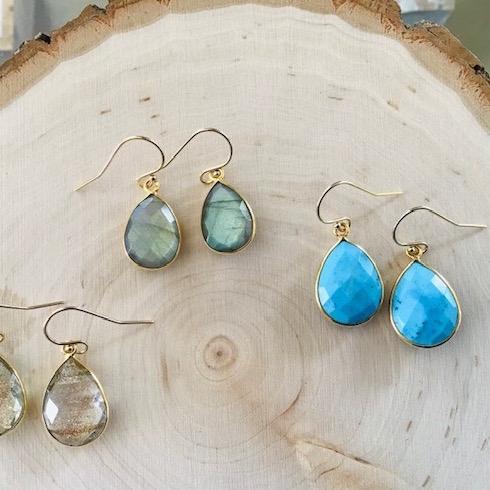 Vermeil Teardrop Gemstone Earrings