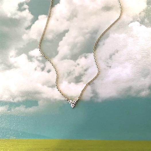 14K Yellow Gold and Petite Diamond Trio Necklace