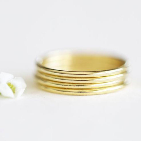 Thin Stacked 14K Yellow Gold Bands